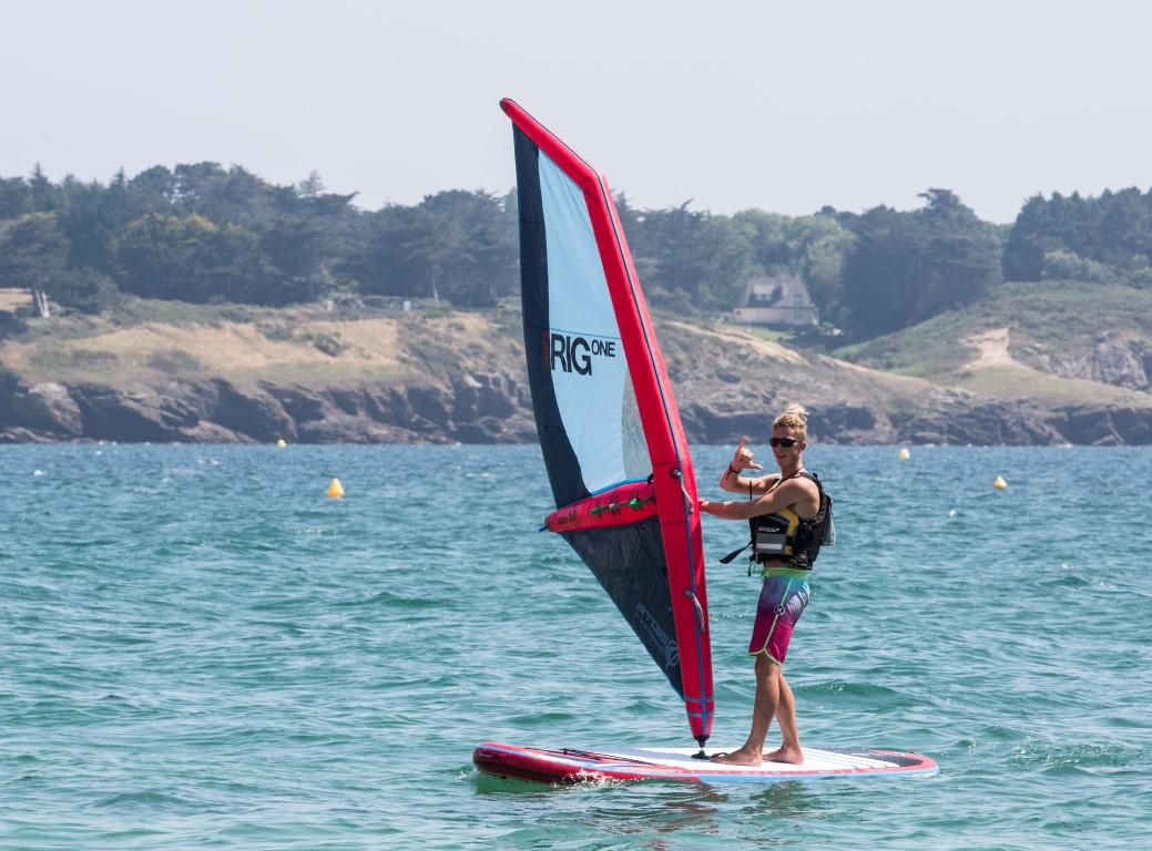 Inflatable Windsurf Sail and board at Club Nautique du Rohu