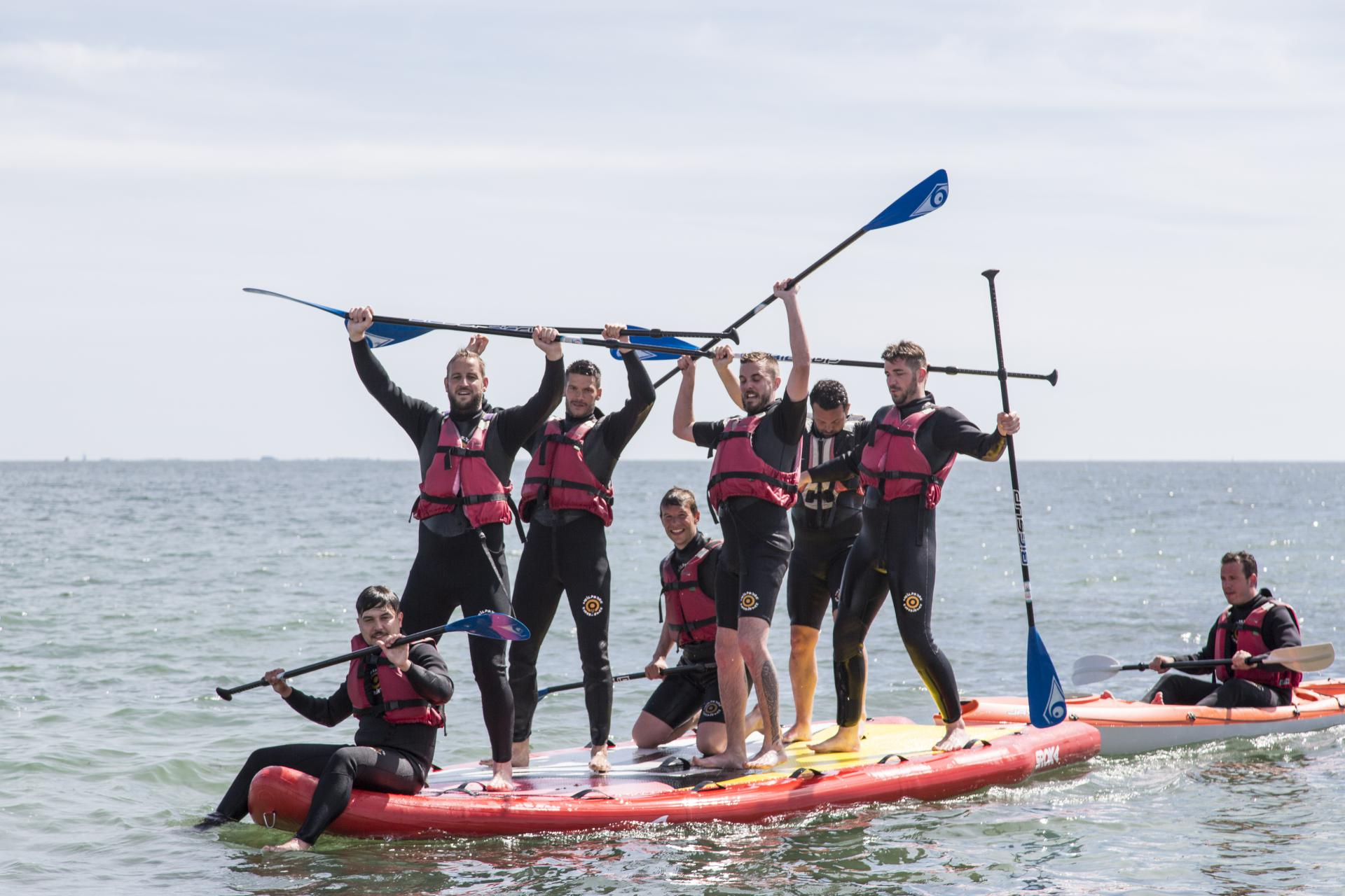 Mega SUP Geant - group at the Club Nautique du Rohu - Morbihan - Brittany